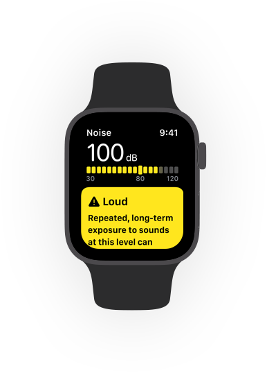 Noise app alert for loud sounds on Apple Watch.
