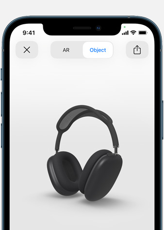Image shows Space Gray AirPods Max in Augmented Reality screen on iPhone.