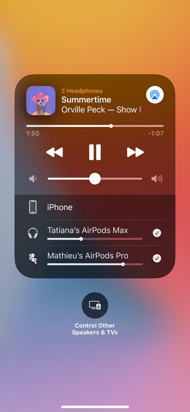 Image shows Audio Sharing card on-screen.