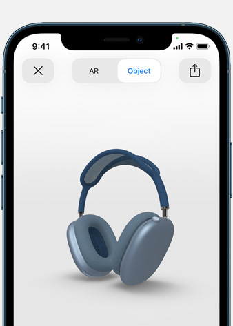 Image shows Sky Blue AirPods Max in Augmented Reality screen on iPhone.