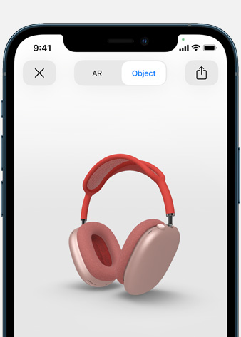Image shows Pink AirPods Max in Augmented Reality screen on iPhone.
