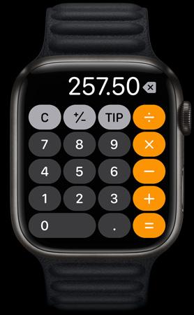 Apple Watch Series 7 Displaying Calculator App
