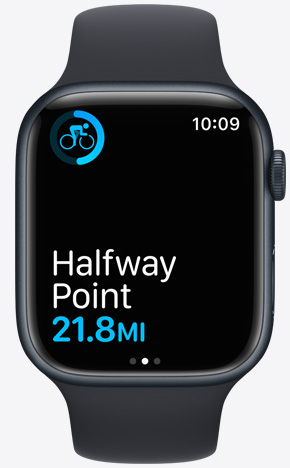 Apple Watch displaying halfway point
