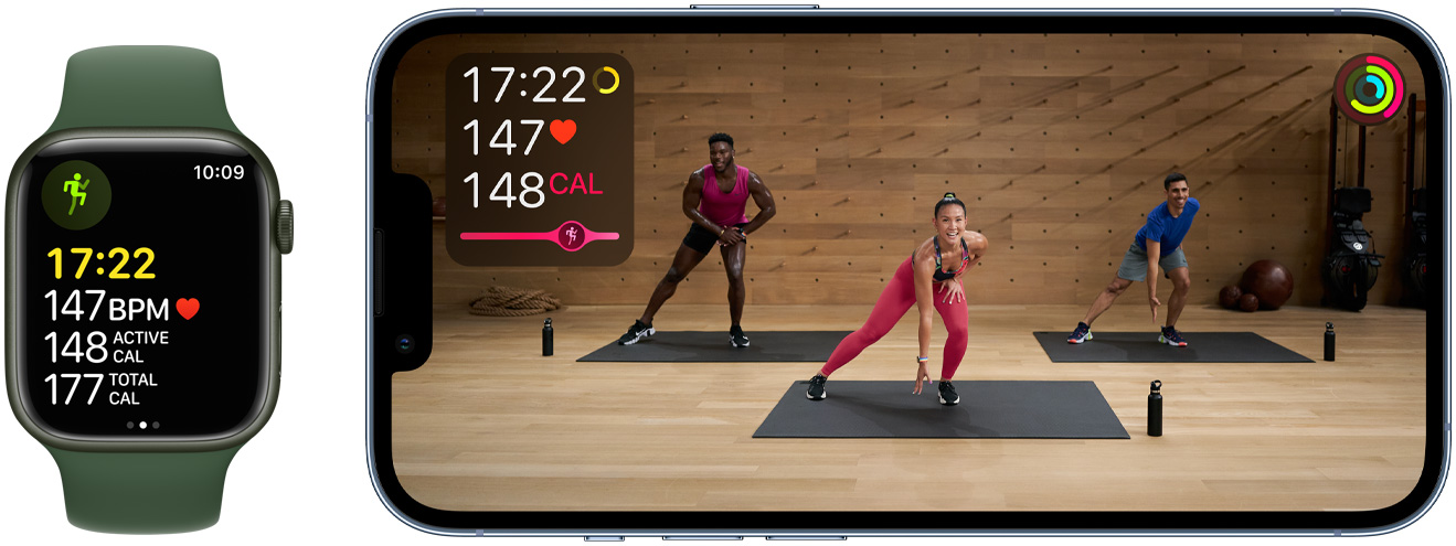 Apple Fitness+ shown on Watch and Phone