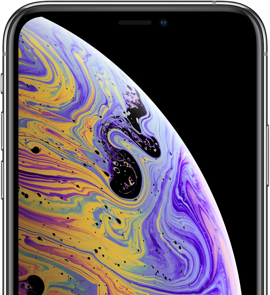 iPhone with abstract wallpaper on screen
