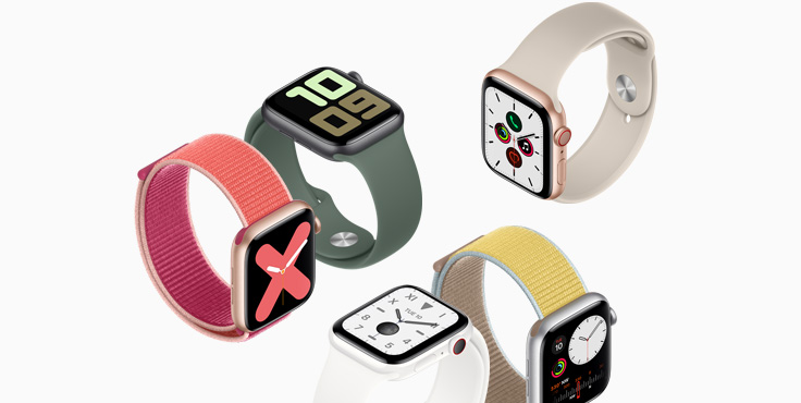 Introducing Series 5. New Always-On Retina display. Pair any case with any band in the Apple Watch Studio. watch series 5