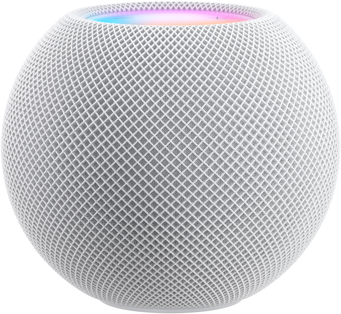 "White HomePod mini with colourful pixels in motion above it spelling the word ""mini""."