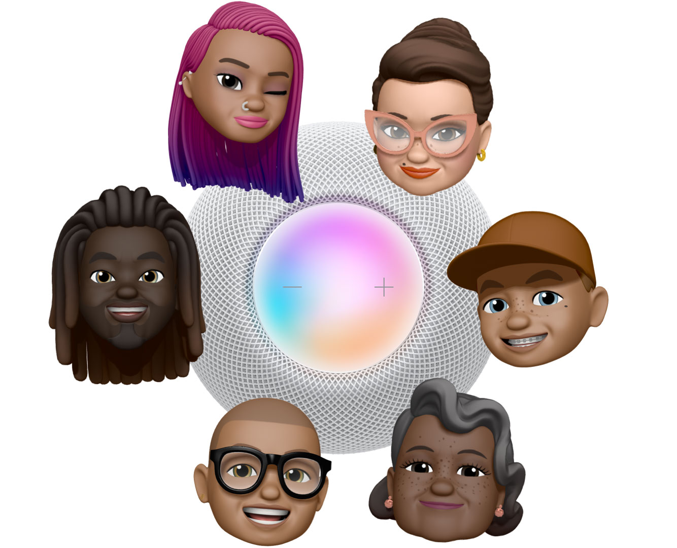 "6 different Memoji faces encircle a top view of a white HomePod mini. 3 characters say ""Hey, Siri"" in blue speech bubbles."