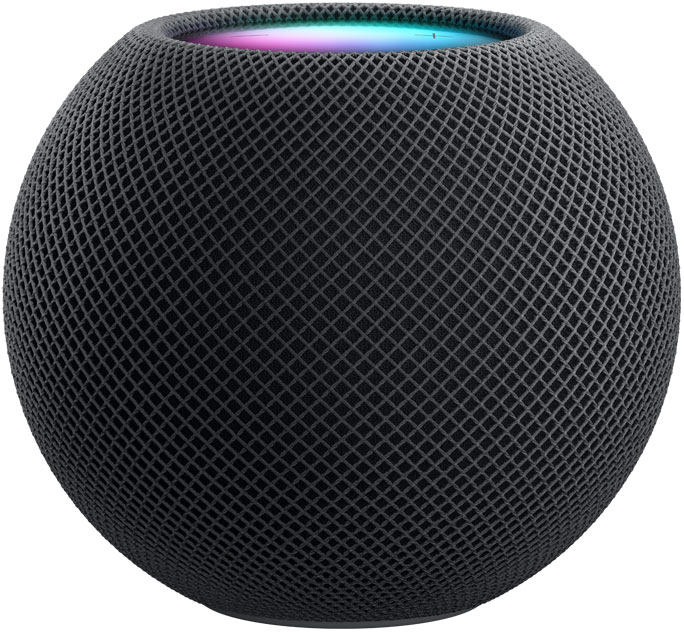 White HomePod mini in front as a Space Grey HomePod mini appears from behind and rotates to be side by side.
