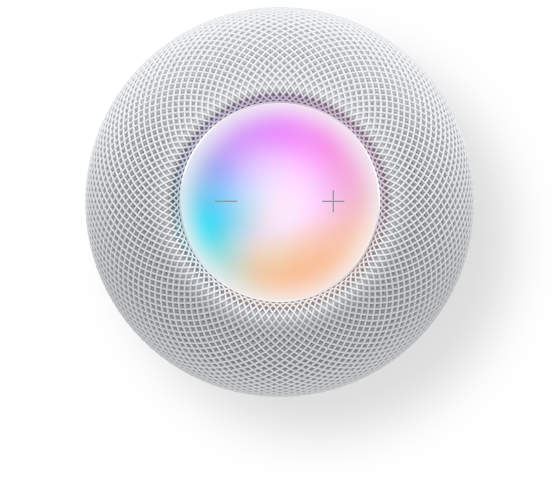HomePod mini with 3 iPhones. One shows the Home app, the second has graphics from HomeKit, the third has the Discover tab.