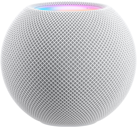 White HomePod mini with colorful top cap just visible over the edge.