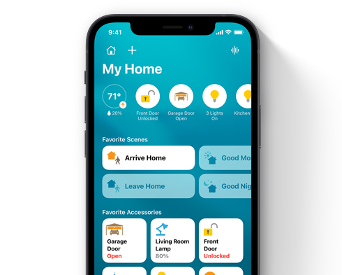 iPhone with HomeKit device graphics.
