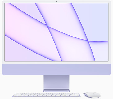 紫色 iMac 的正面圖