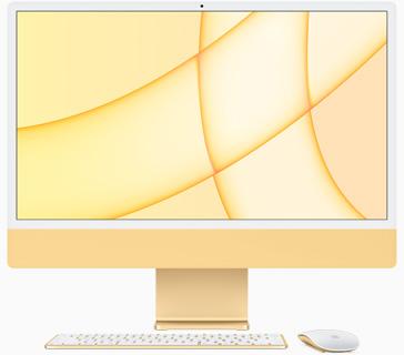 黃色 iMac 的正面圖