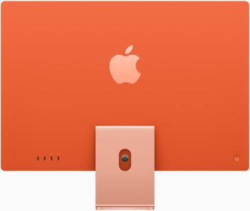صورة خلفية لجهاز iMac باللون البرتقالي
