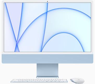صورة أمامية لجهاز iMac باللون الأزرق