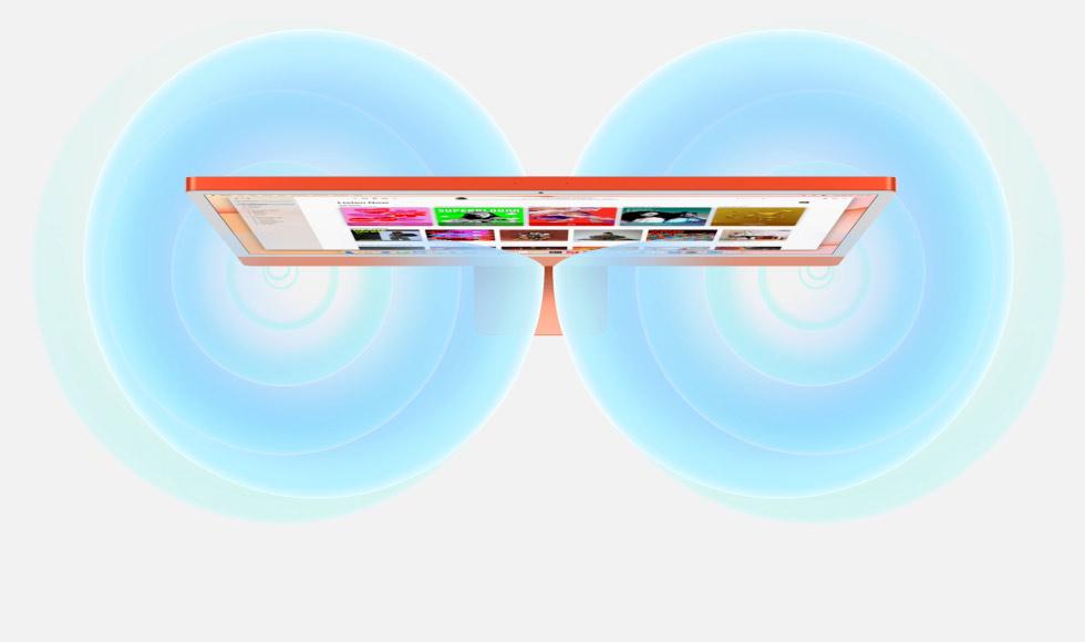 رسم متحرك يبين الصوت الذي ينتجه iMac
