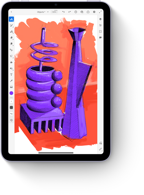Adobe Fresco app on iPad mini