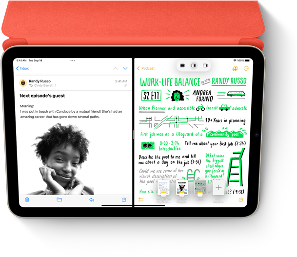 Split View of Mail message and handwritten note in Notes app on iPad with Smart Folio and Apple Pencil