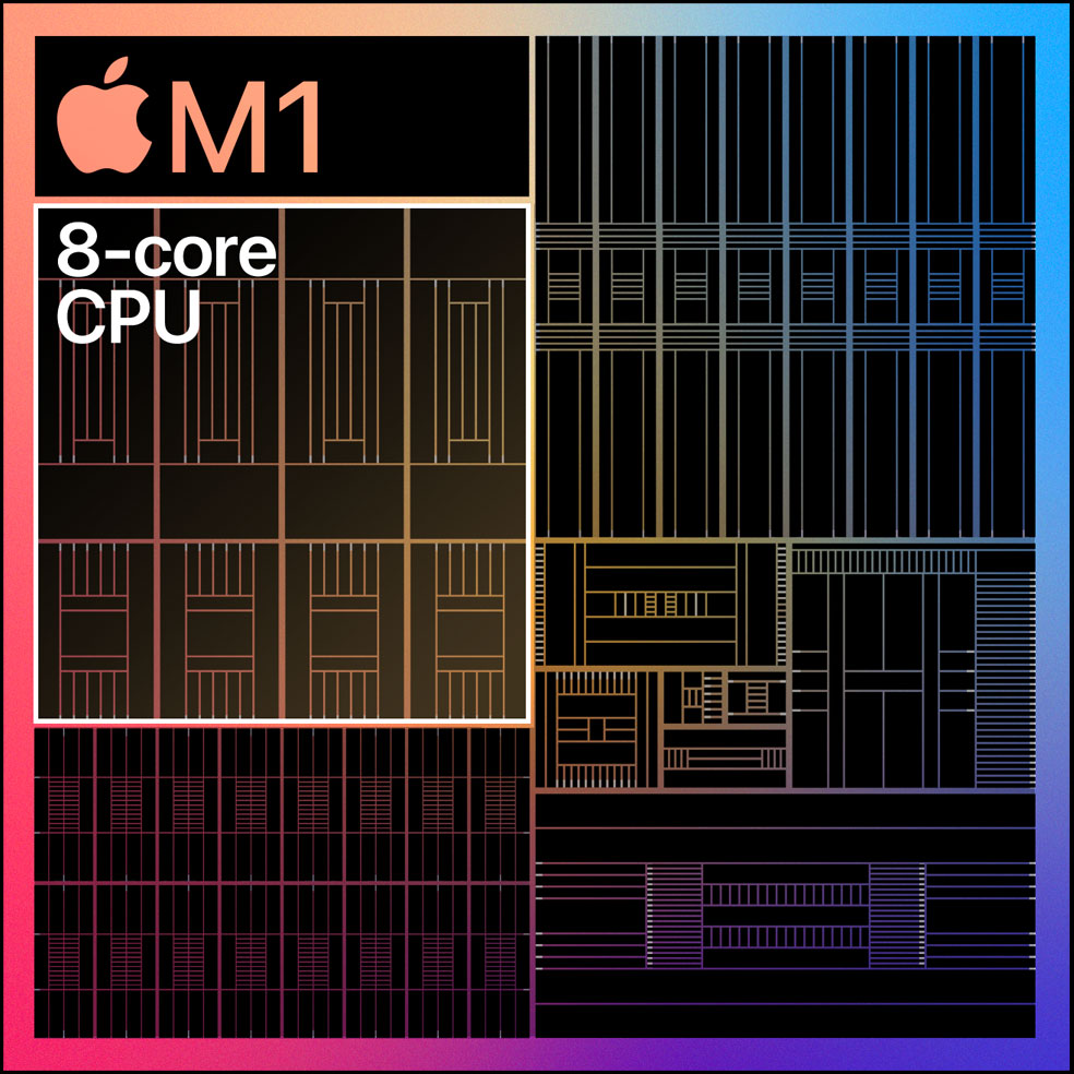 Diagram showing the 8-core CPU on the M1 chip