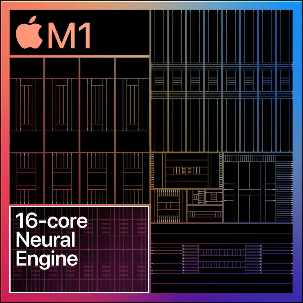Diagram showing the 16-core Neural Engine on the M1 chip